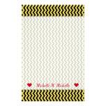 [ Thumbnail: Custom Name + Yellow & Black Wavy Line Pattern Stationery ]