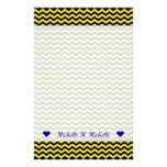[ Thumbnail: Custom Name + Yellow & Black Wavy Line Pattern Stationery ]