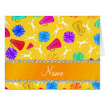 Custom name yellow cheerleading pompoms card