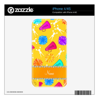 Custom name yellow cheerleading pompoms skins for iPhone 4S