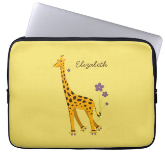 Custom Name Yellow Cute Cartoon Giraffe Laptop Sleeve