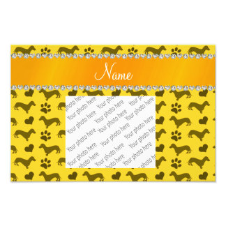 Custom name yellow dachshunds hearts paws photo print