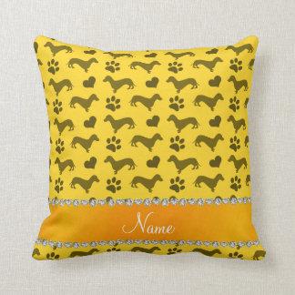 Custom name yellow dachshunds hearts paws throw pillow