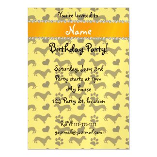 Custom name yellow dachshunds hearts paws magnetic invitations