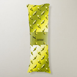 Custom name yellow diamond plate steel body pillow