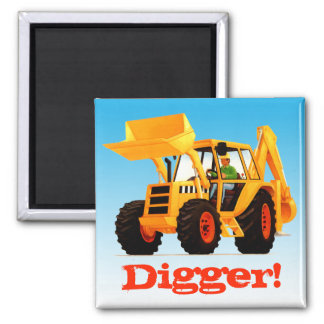 Custom Name Yellow Digger 2 Inch Square Magnet