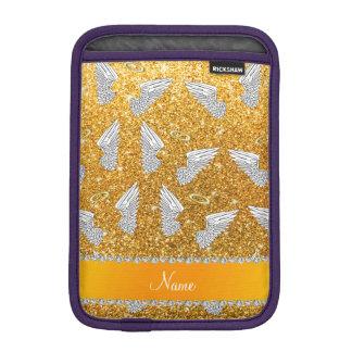 Custom name yellow glitter angel wings iPad mini sleeve