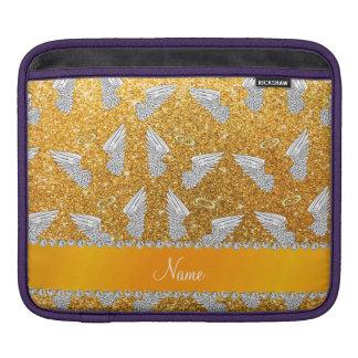 Custom name yellow glitter angel wings iPad sleeve