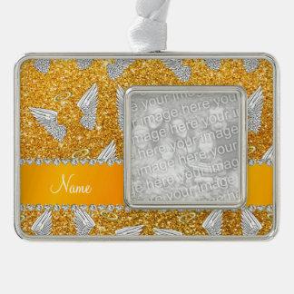 Custom name yellow glitter angel wings ornament