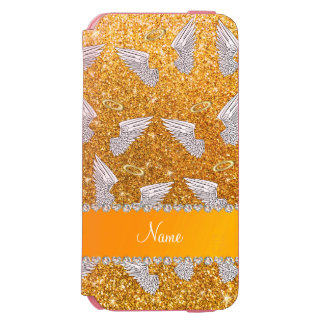 Custom name yellow glitter angel wings incipio watson™ iPhone 6 wallet case