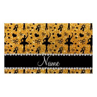 Custom name yellow glitter ballerinas business card templates