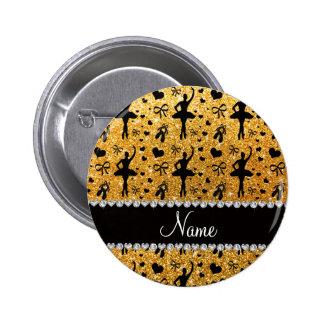 Custom name yellow glitter ballerinas pin