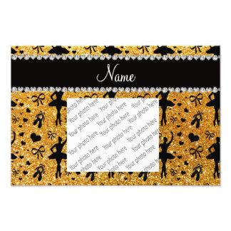 Custom name yellow glitter ballerinas photo print