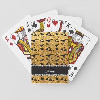 Custom name yellow glitter bikini bows card deck