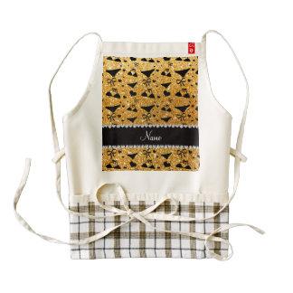 Custom name yellow glitter bikini bows zazzle HEART apron