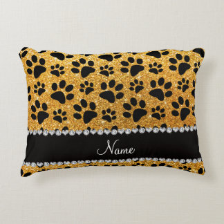 Custom name yellow glitter black dog paws accent pillow