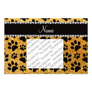Custom name yellow glitter black dog paws photographic print