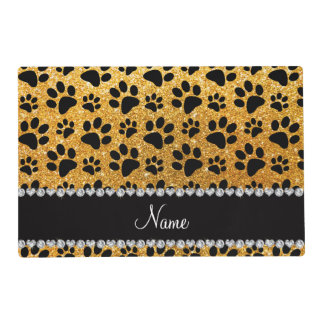 Custom name yellow glitter black dog paws placemat