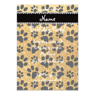 Custom name yellow glitter black dog paws magnetic invitations
