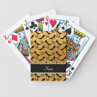 Custom name yellow glitter black high heels bow bicycle playing cards