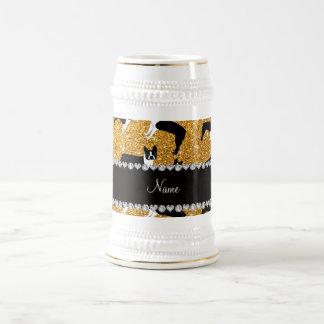 Custom name yellow glitter boston terrier mugs