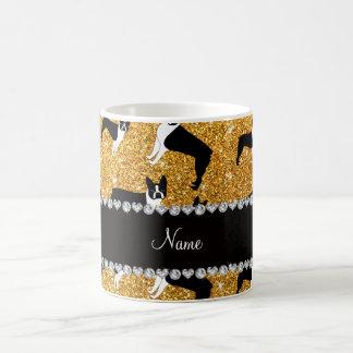 Custom name yellow glitter boston terrier classic white coffee mug