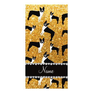 Custom name yellow glitter boston terrier personalized photo card