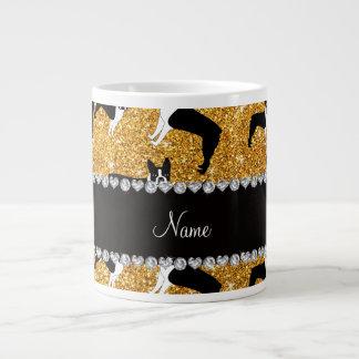 Custom name yellow glitter boston terrier 20 oz large ceramic coffee mug