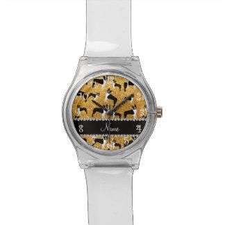 Custom name yellow glitter boston terrier wrist watches