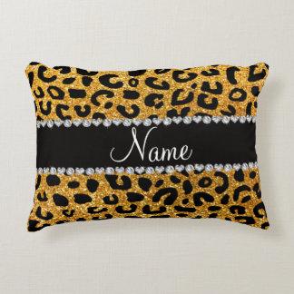 Custom name yellow glitter cheetah print accent pillow