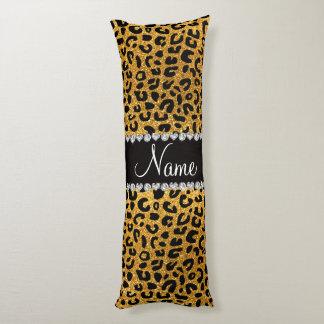 Custom name yellow glitter cheetah print body pillow