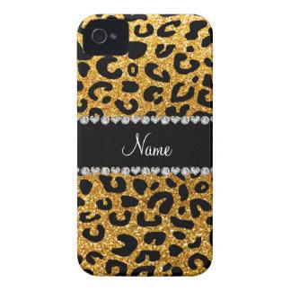 Custom name yellow glitter cheetah print Case-Mate iPhone 4 case