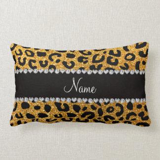 Custom name yellow glitter cheetah print pillows
