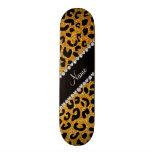 Custom name yellow glitter cheetah print custom skate board