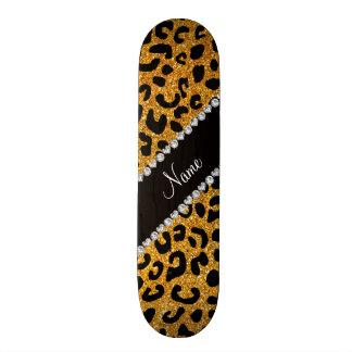 Custom name yellow glitter cheetah print skateboard