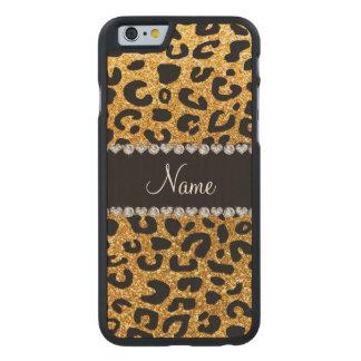 Custom name yellow glitter cheetah print carved® maple iPhone 6 slim case