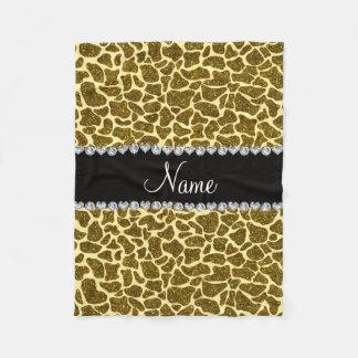 Custom name yellow glitter giraffe fleece blanket