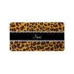 Custom name yellow glitter leopard print personalized address label