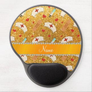Custom name yellow glitter nurse hats heart gel mouse pad