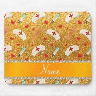 Custom name yellow glitter nurse hats heart mouse pad