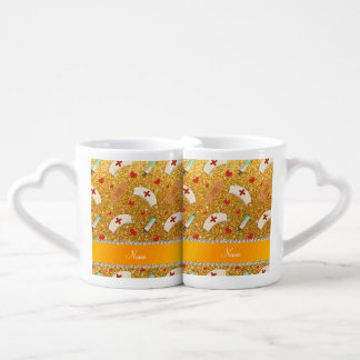 Custom name yellow glitter nurse hats heart couples' coffee mug set