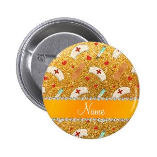 Custom name yellow glitter nurse hats heart pinback button