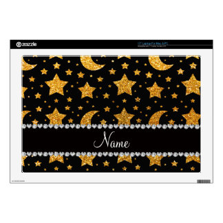 "Custom name yellow glitter stars and moons 17"" laptop skins"