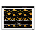 "Custom name yellow glitter stars and moons 17"" laptop skins"