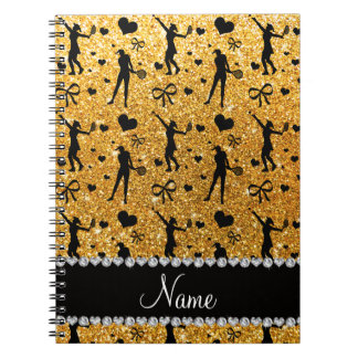 Custom name yellow glitter tennis hearts bows note book