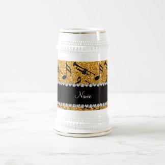 Custom name yellow glitter trumpets music notes coffee mugs
