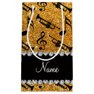 Custom name yellow glitter trumpets music notes small gift bag