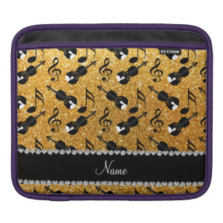 Custom name yellow glitter violins music notes sleeve for iPads
