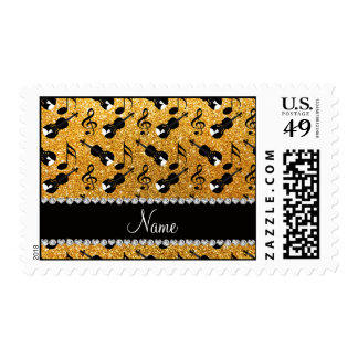 Custom name yellow glitter violins music notes stamps