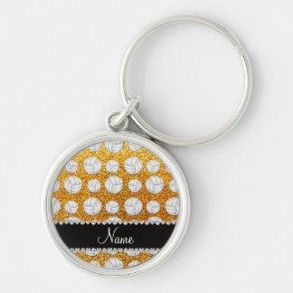 Custom name yellow glitter volleyballs keychains